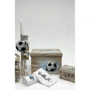 Χειροποίητο κουτί βάπτισης με θέμα το ποδόσφαιρο για αγόρι