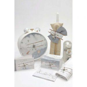 Χειροποίητο κουτί βάπτισης με θέμα αεροπλάνο ρολόι για αγόρι
