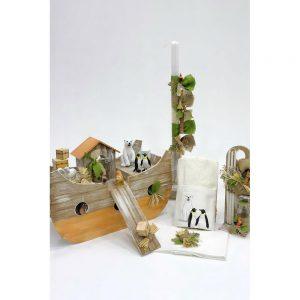 Χειροποίητο κουτί βάπτισης με θέμα κιβωτός για αγόρι