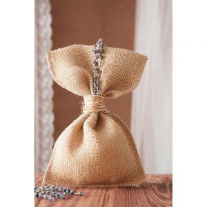 Mπομπονιέρα γάμου πουγκί λινάτσα με λεβάντα