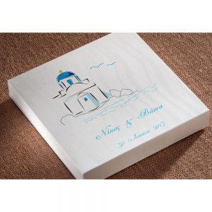 Χειροποίητο προσκλητήριο γάμου κουτάκι με ζωγραφισμένο εκκλησάκι