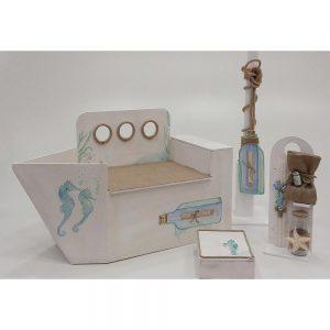 Χειροποίητο κουτί βάπτισης vintage καράβι για αγόρι