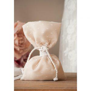 Χειροποίητη μπομπονιέρα γάμου πουγκί πουά