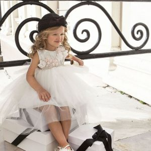 Βαπτιστικό φόρεμα ασημί δαντέλα 6008-1 Dolce Bambini