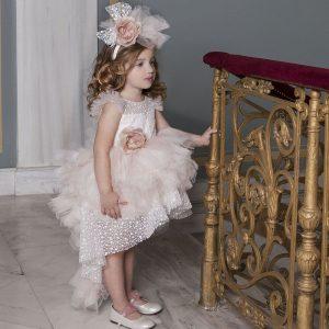 Βαπτιστικό φόρεμα με χιονέ δαντέλα 6014-1 Dolce Bambini