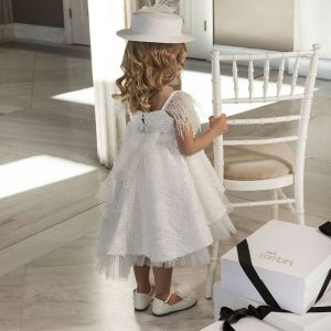 Βαπτιστικό φόρεμα λουλουδάτη δαντέλα 6021-1 Dolce Bambini