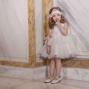 Βαπτιστικό φόρεμα με κεντητή δαντέλα 6022-1 Dolce Bambini