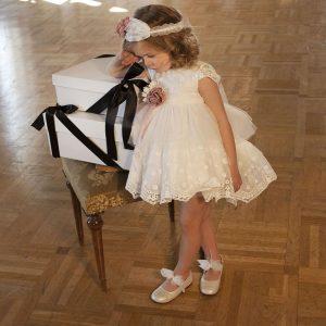 Βαπτιστικό φόρεμα Γαλλική δαντέλα 6023-1 Dolce Bambini