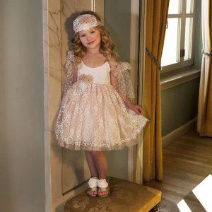 Βαπτιστικό φόρεμα ιβουάρ σάπιο μήλο 6025-1 Dolce Bambini