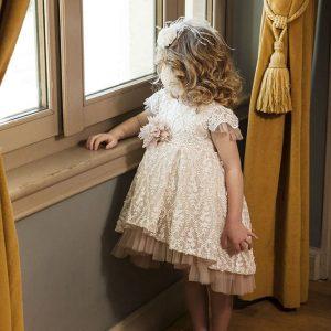 Βαπτιστικό φόρεμα σάπιο μήλο ιβουάρ 6032-8 Dolce Bambini