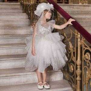 Βαπτιστικό φόρεμα από πουά τούλι 6034-1 Dolce Bambini