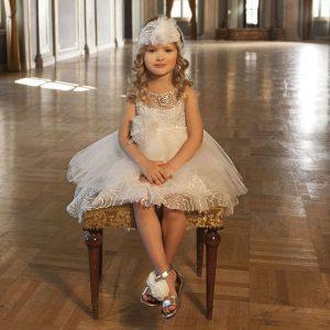 Βαπτιστικό φόρεμα ιβουάρ τούλι δαντέλα 6036-1 Dolce Bambini
