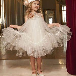 Βαπτιστικό φόρεμα ιβουάρ γραμμή άλφα 6040-1 Dolce Bambini